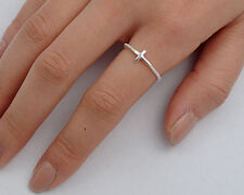 USA Seller Tiny Sideway Cross Ring Sterling Silver 925 Best Deal Jewelry Size 3