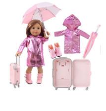 Clothes for Doll Baby Born  4Pcs Raincoat/Umbrella/Rain Boots/Suitcase For 18 In