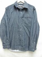 V6210 AXIS Modern Coat Blue Snap Up Shirt Men's L