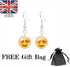 High Quality Emoji Dangle Earrings Lol Pmsl Wtf OMG Smiley Heart Love UK Present