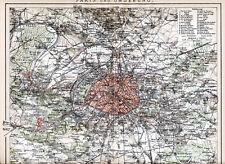 Parigi environs 1893 ORIG. mappa Versailles St-Germain Sceaux Argenteuil St-Denis