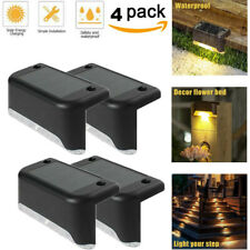 4 PCS LED Solar Deck Lights Waterproof Outdoor Pathway Yard Stairs Fence Lamps