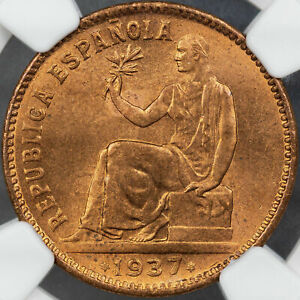 1937(34) SPAIN 50 CENTIMOS NGC MS65 RD FINEST KNOWN WORLDWIDE GEM CHOICE