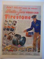 1945 FIRESTONE Automotive Products vintage art print ad
