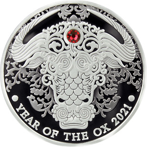 2021 Ghana Lunar Year of the Ox 1/2oz Silver Proof Coin w/ Crystal Insert