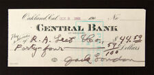 New ListingJack London Authentic Original Autographed Hand Signed Cancelled Check R&R Coa