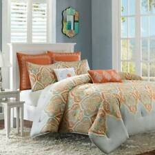 New Madison Park Nisha KING Comforter Set 7pcs Gray & Orange