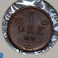 Sweden 1878 Ore UNC double date S0171 combine shipping