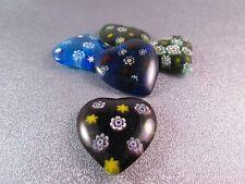 Millefiori Murano Glass Half Drilled Heart Pendant Beads 5pcs