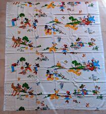 VTG 50s 60s Disney Curtain Sheet Fabric Mickey Minnie Cowbo Western 1