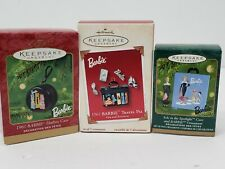 Hallmark Barbie lot - 3 ornaments - 1961 travel pal, hatbox case + 1 more NIB
