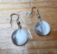 Pretty White Frosted Glass Earrings/Pierced/Droplet/Dainty/Hippy/Boho/Round