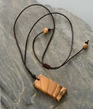 Handmade Natural Beaded Picture Jasper Necklace With Jasper Beads Brown Leather