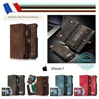 Etui housse portefeuille coque Split Leather Wallet Case Cover pour iPhone 7 / 8