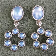 Jewelry Earrings Silver Tone Metal Blue Glass Rhinestone Wedding Bride Beauti...