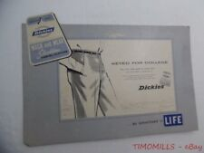 c.1960 Dickies Wash n Wear Slacktime Casual Clothes Cardboard Easel Sign Vintage