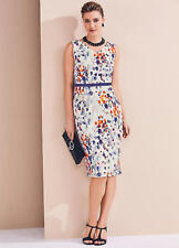 Textured Fabric Watercolour Print Shift Dress with Ribbon detail Size 10 NEW
