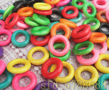 50pcs Mixed color wood beads, wooden ring DIY Inner:7mm ; Outer:13mm DF678