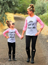 Boutique Mother & Daughter Long Sleeve Tops T-shirt Women Kids Girls Casual