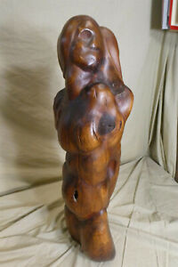 "Tall Vintage 22"" x 8"" Solid Wood Mahogany? Hand Carved 3 NUDE FIGURES SCULPTURE"