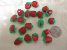 20 x red and green strawberry buttons shank style