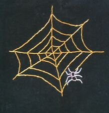 Absolutely Gorgeous Black Fabric HALLOWEEN SPIDER WEB Table Runner BEADED!