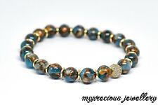 Natural Jasper Cloisonne Blue Bracelet Elasticated Beaded Reiki Chakra UK