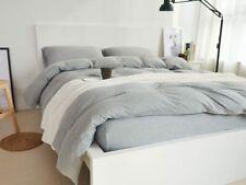 3 Piece Duvet Cover and Pillowcase Set Queen Grey 100% Cotton