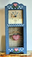Folk Art Mantel Clock - Blue with Hearts