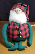 Overly-Raker Spectacled Plaid Christmas Santa Elf Weighted to Sit Up