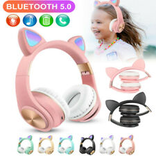 Wireless Cat Ear Headphones Bluetooth Headset RGB Lights Earphone Mic Kids Adult