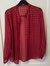 Ladies 'BRAVE SOUL' Black/Red sheer long sleeve Blouse. Size S. vgc.