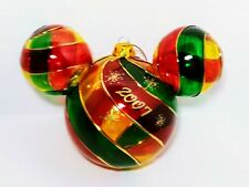 "Disney World Red Green Mickey Ears Blown Glass Christmas Ornament Large 5""×7"""