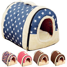 Portable House Dog House Cat Bed Basket Removable Cushion Animal Bed Kennel