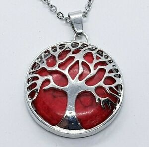 Red Howlite Crystal Necklace Tree of Life Pendant Healing Stone Gemstone Chain