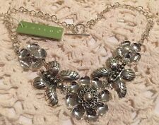 """❤️Gorgeous! Flower & Butterfly Necklace Sterling Silver Made In Mexico 16"""" NWT"""