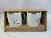 NEW Rae Dunn Fall Yall Mug Set Of 2 Thanksgiving FALL Y'ALL Ceramic LL Lettering