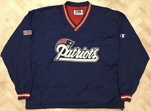 Vintage Authentic Champion New England Patriots Reversible Pullover Jacket 2XL
