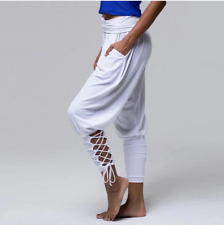 Ladies White Lounge Yoga Pants Eco-friendly Bamboo Lace-up Stretchy Size M/L