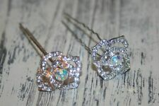 2 x Wedding Hairpins, Hair Accessories with Rhinestone, Gold or Silver (2 pc)