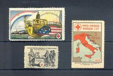 FRANCE ITALY 3 x POSTER STAMP-VIGNETTE -1915 ca.-RED CROSS - WW I - * MH --F/VF