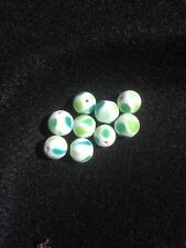 10 frosted green and white 16mm round lamp work beads with teardrop motif