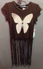 $92 NWT Wildfox Brand Solid Brown Butterfly Fringe Crew Neck T Shirt Size XS