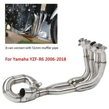 Motorcycle Full Exhaust Headers Front Link Pipe Tube For Yamaha YZF-R6 2006-2018