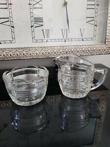 Vintage Clear Depression Glass Creamer And Sugar Bowl