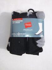 Hanes Premium 9 pair men's shoe size 6-12 black cushion crew socks cool comfort