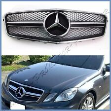 New E63 Look Chrome Black Mesh Fin Front Replaced Grille Fit 10-13 W212 E-Sedan