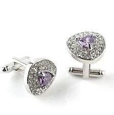 Silver and purple diamond cufflinks UK Seller Brand New