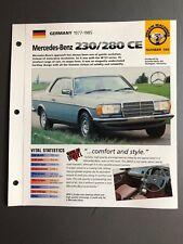 "1977 - 1985 Mercedes-Benz 230/280 CE Coupe IMP ""Hot Cars"" Spec Sheet Folder L@@K"
