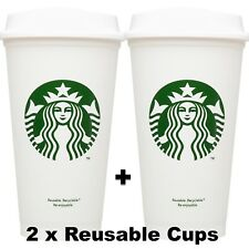 NEW 2x Starbucks Reusable Coffee Tea Cup Tumbler Lid Travel 16 oz Plastic Mug